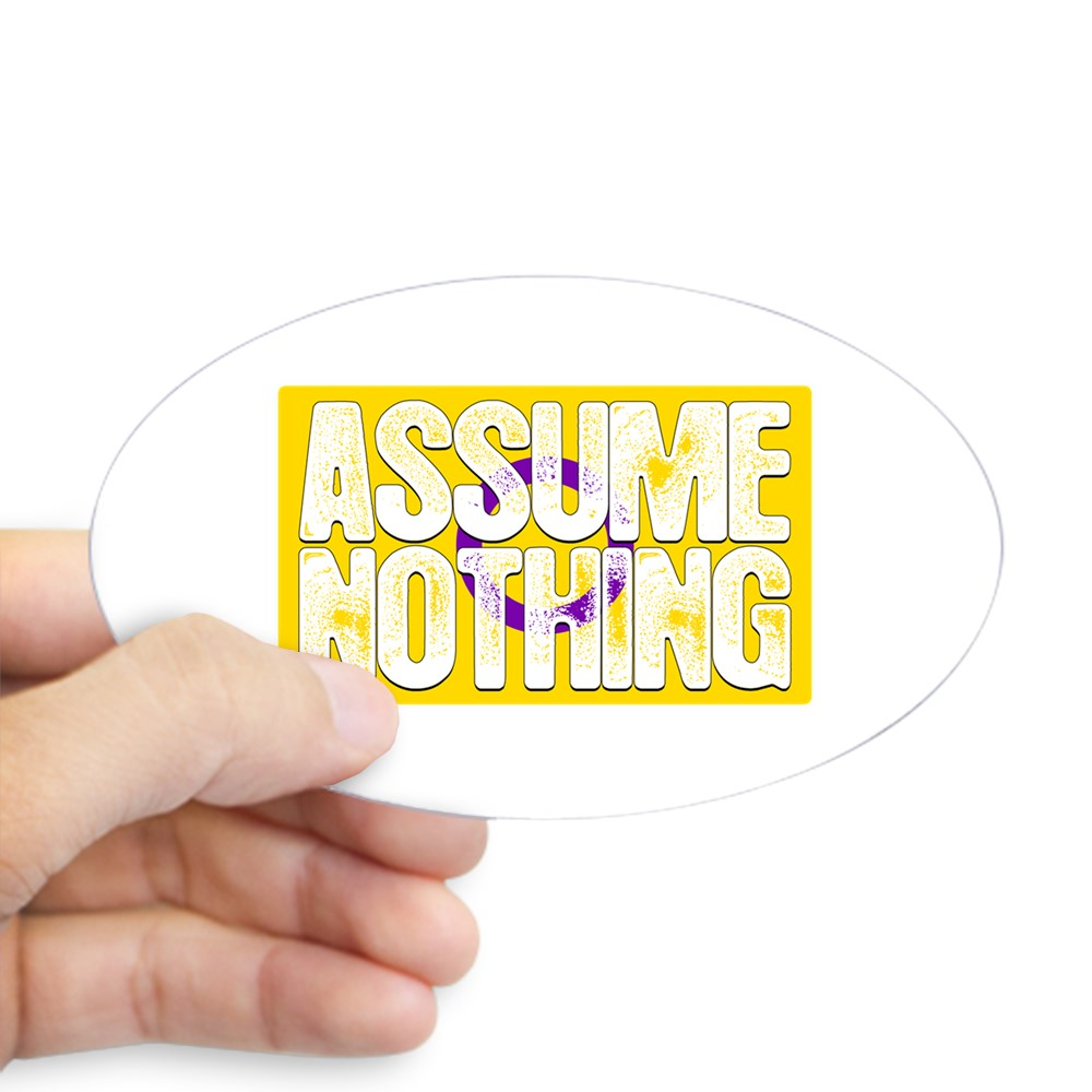 Assume Nothing Intersex Pride Flag Oval Sticker