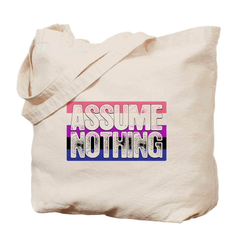 Assume Nothing Genderfluid Pride Flag Tote Bag