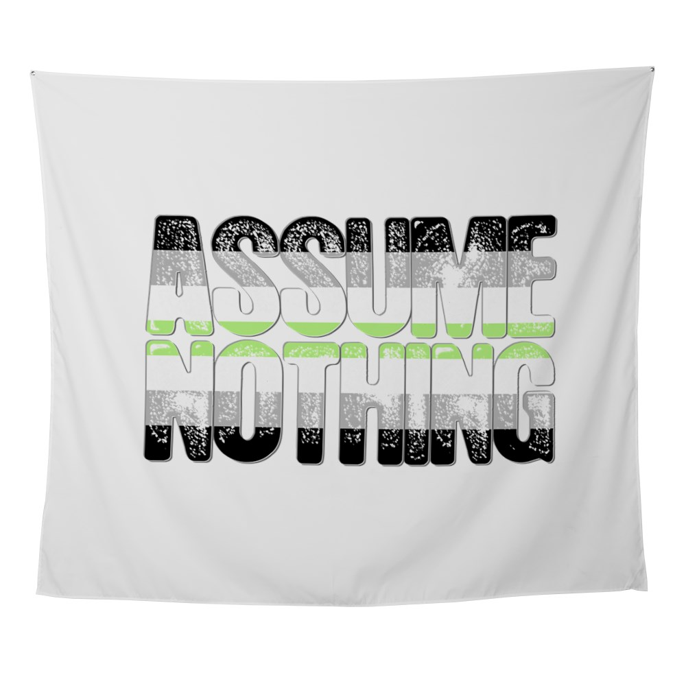 Assume Nothing Agender Pride Wall Tapestry