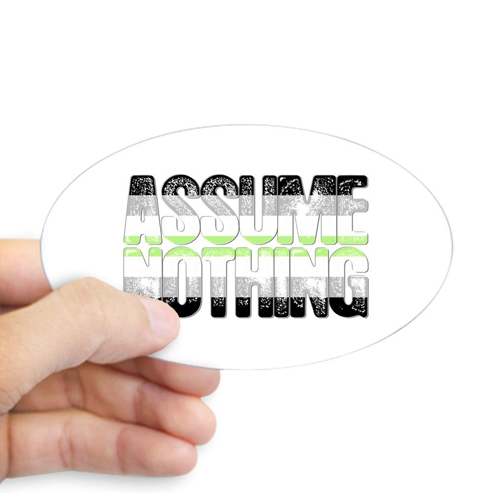 Assume Nothing Agender Pride Oval Sticker