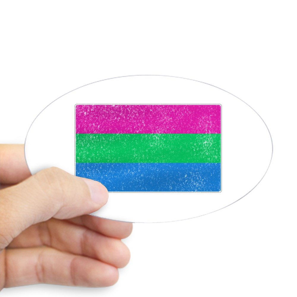 Distressed Polysexual Pride Flag Oval Sticker