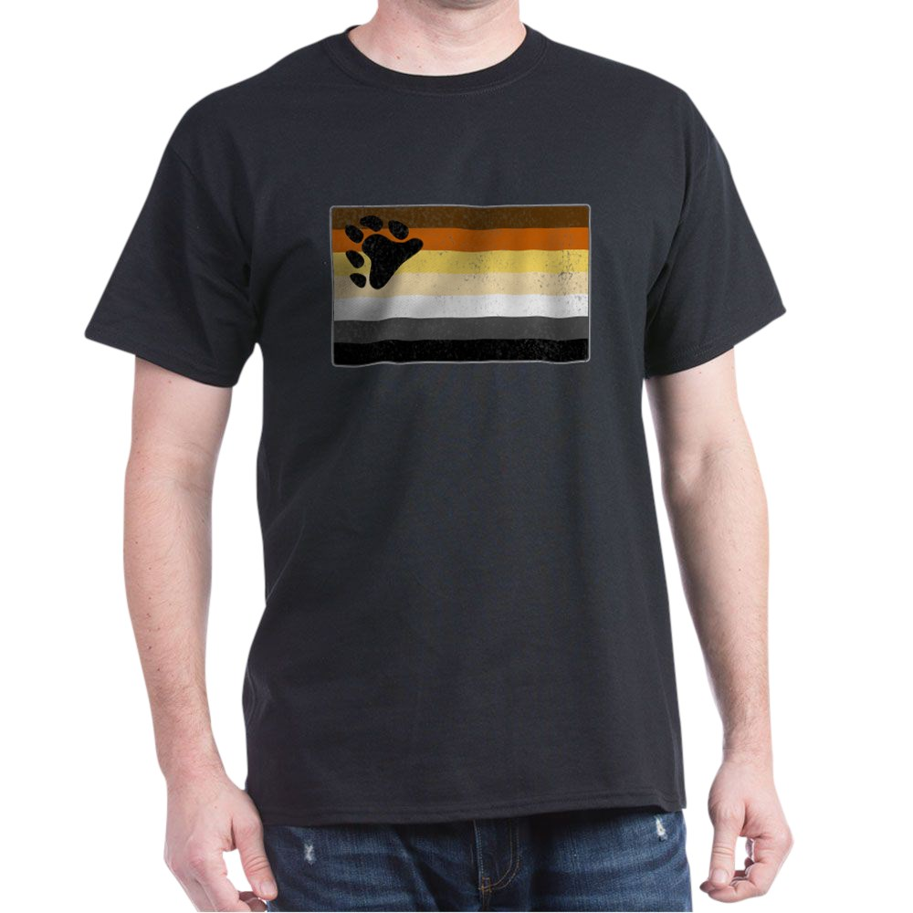 Distressed Gay Bear Pride Flag Dark T-Shirt