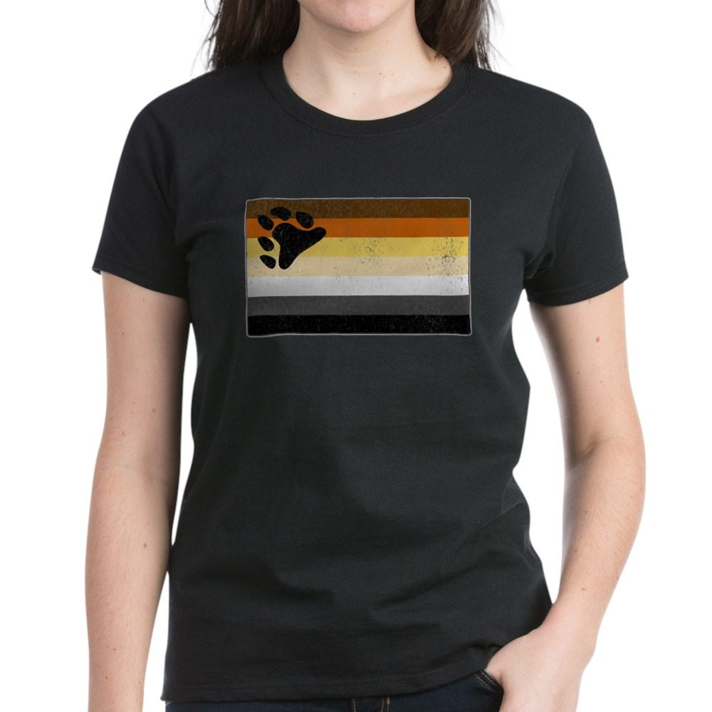 Distressed Gay Bear Pride Flag Women's Dark T-Shirt