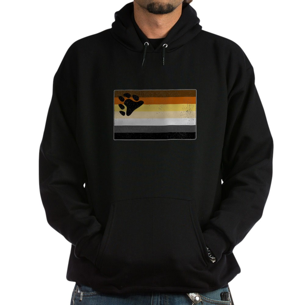 Distressed Gay Bear Pride Flag Dark Hoodie
