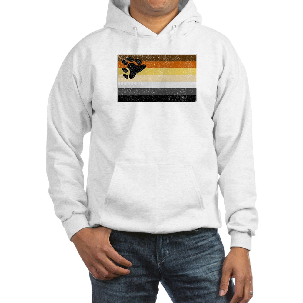 Distressed Gay Bear Pride Flag Hooded Sweatshirt