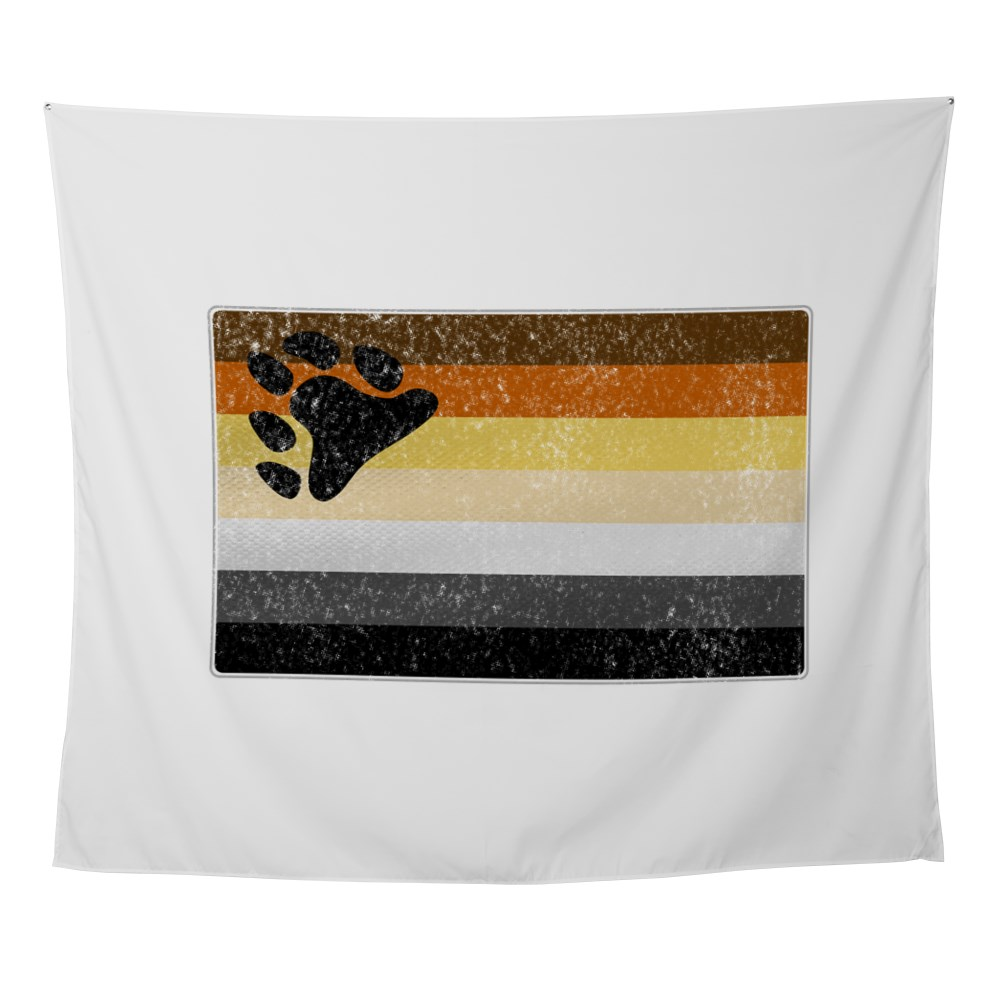 Distressed Gay Bear Pride Flag Wall Tapestry