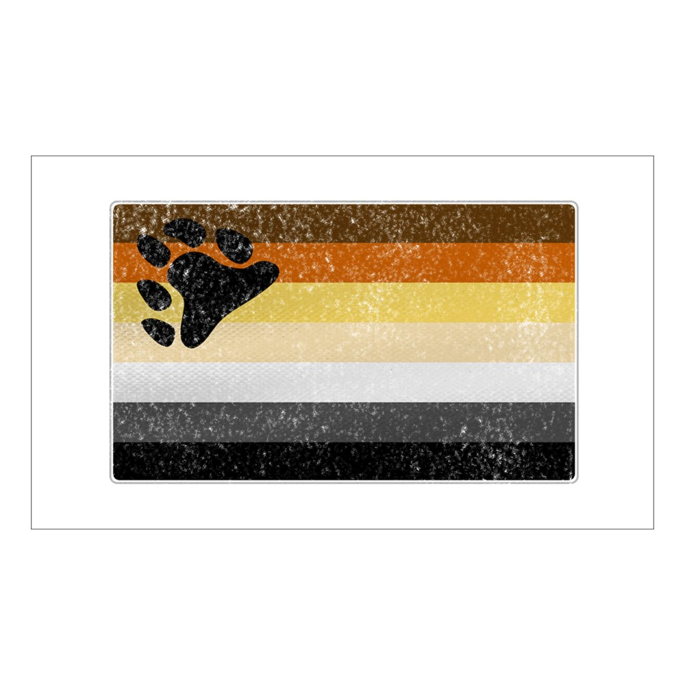 Distressed Gay Bear Pride Flag Rectangle Sticker