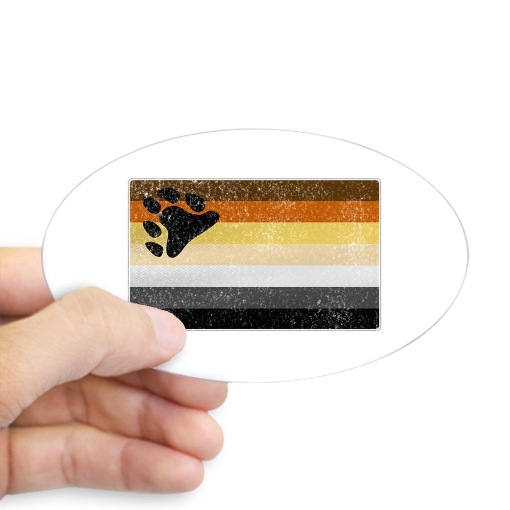 Distressed Gay Bear Pride Flag Oval Sticker
