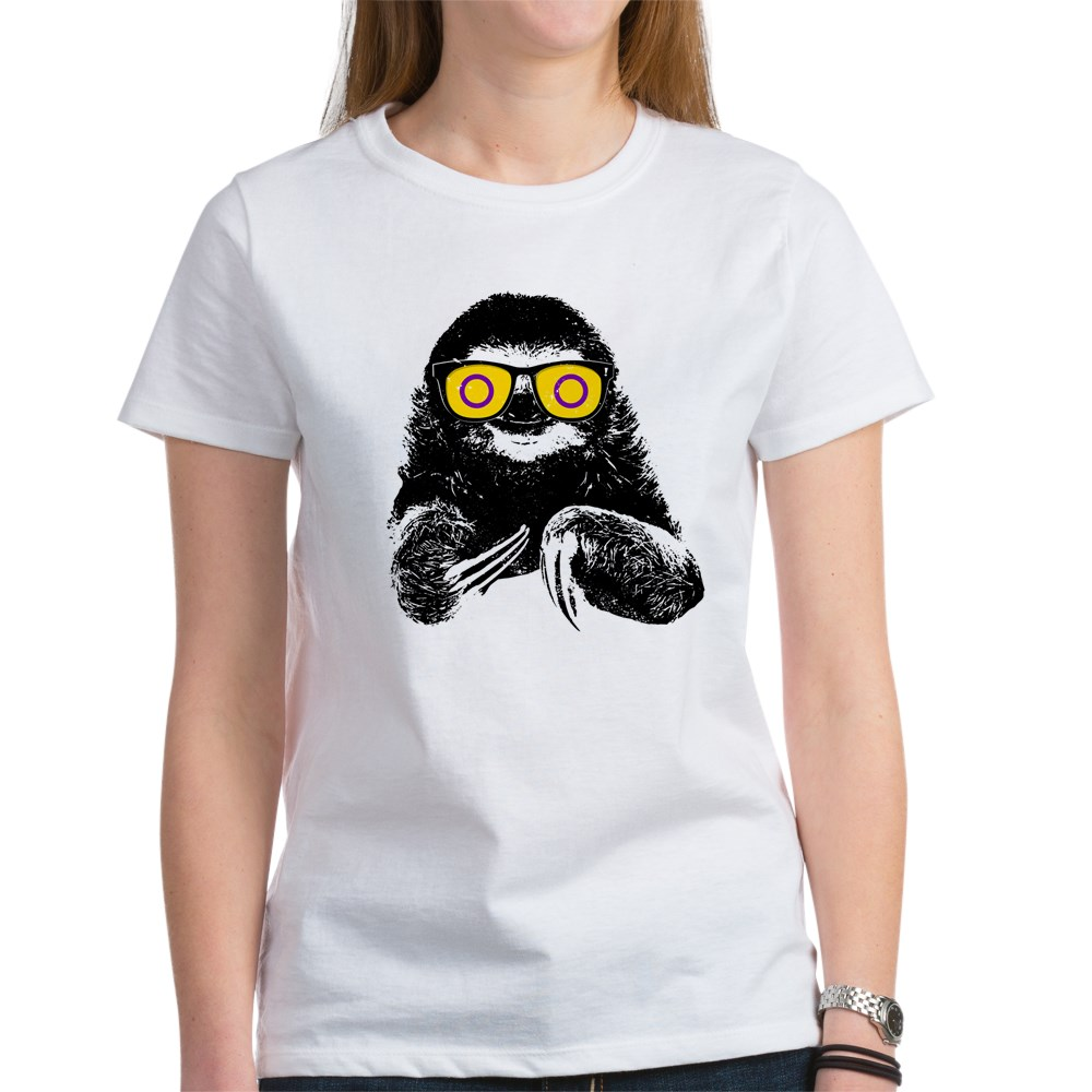 Pride Sloth Intersex Flag Sunglasses Women's T-Shirt