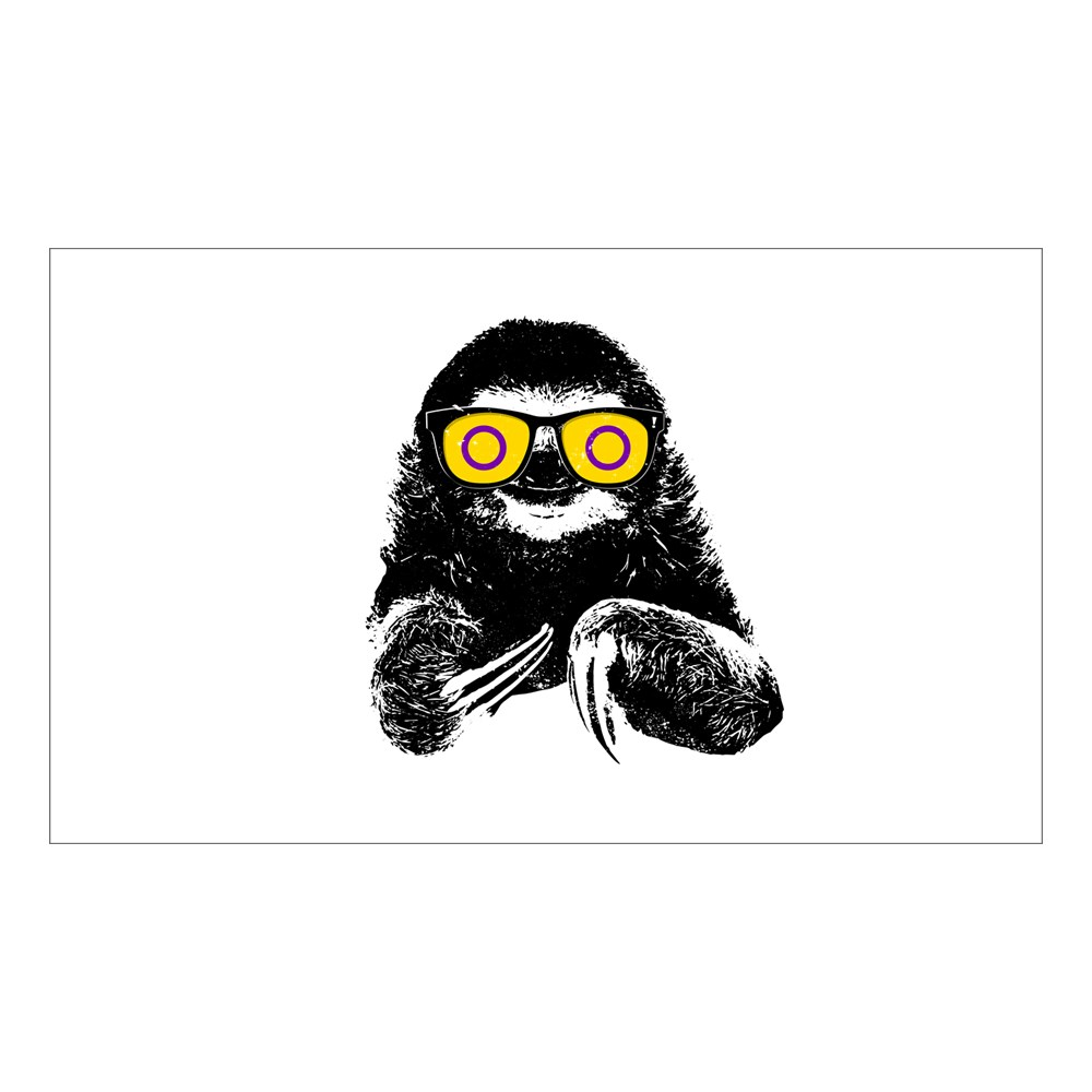 Pride Sloth Intersex Flag Sunglasses Rectangle Sticker
