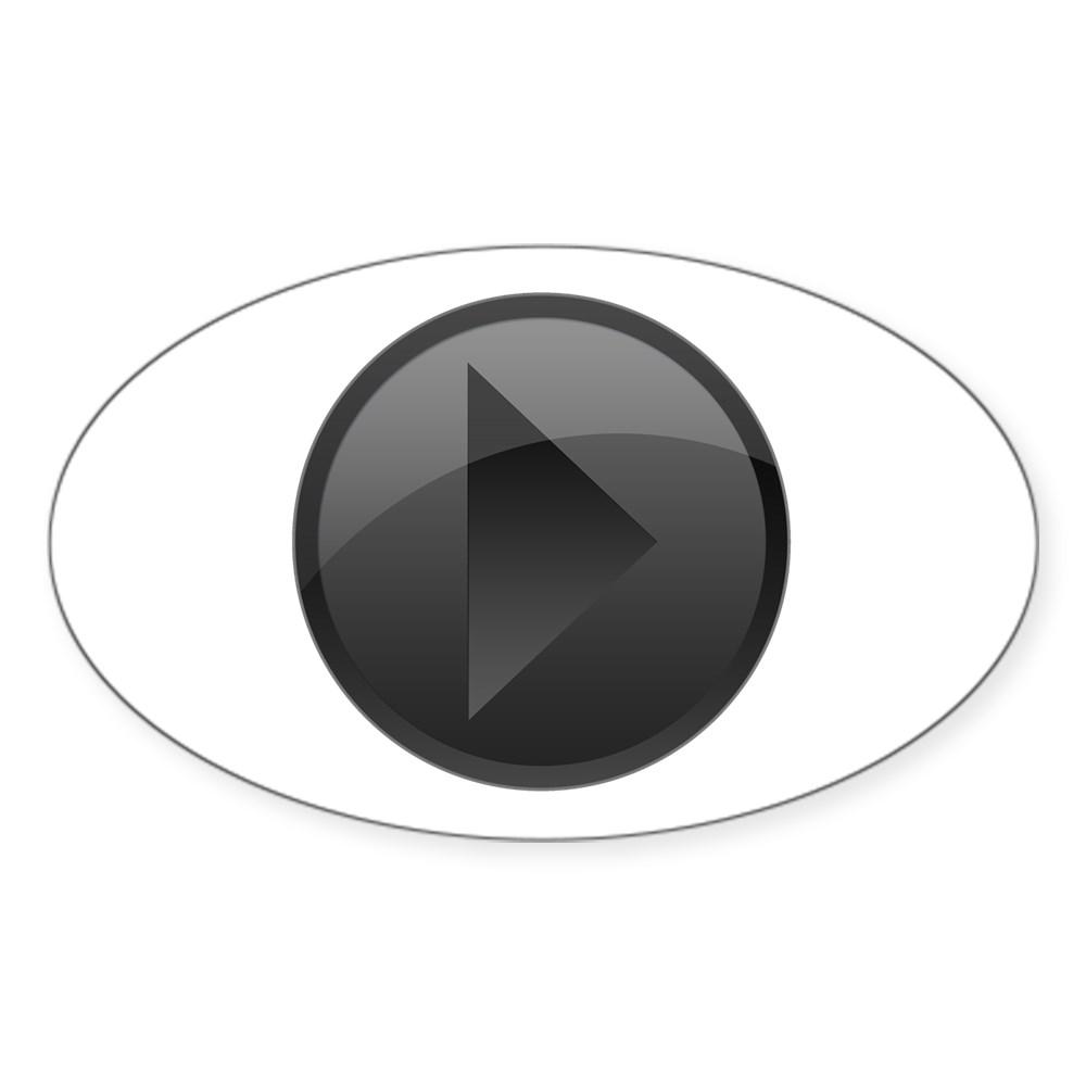 Black Play Button Oval Sticker