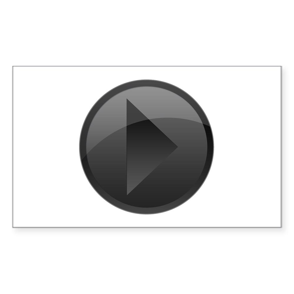 Black Play Button Rectangle Sticker