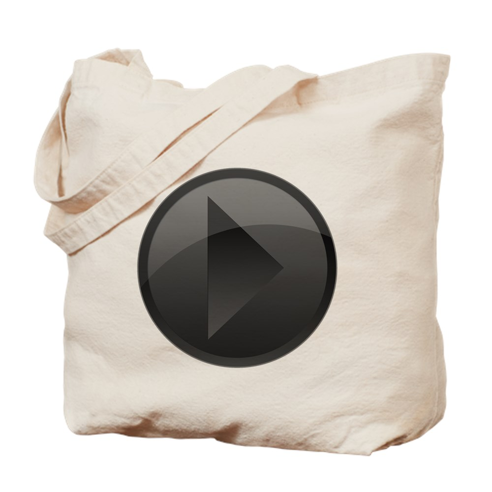 Black Play Button Tote Bag