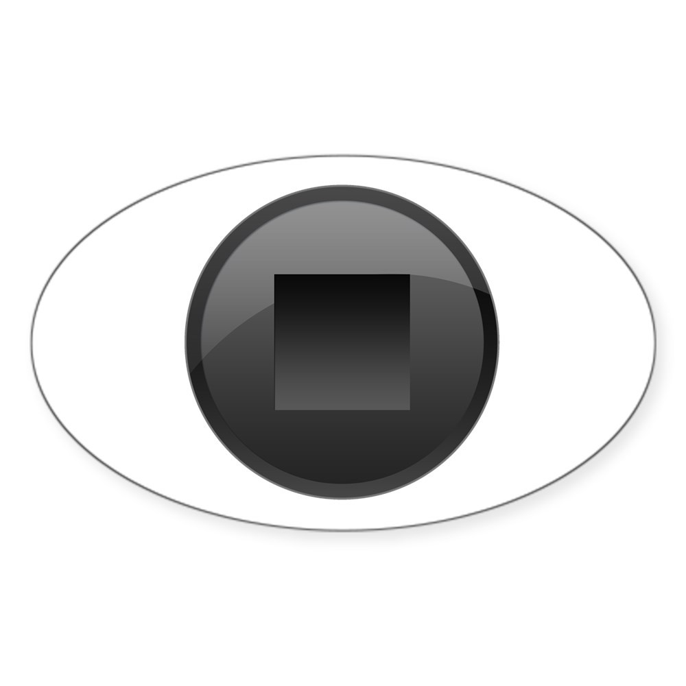 Black Stop Button Oval Sticker