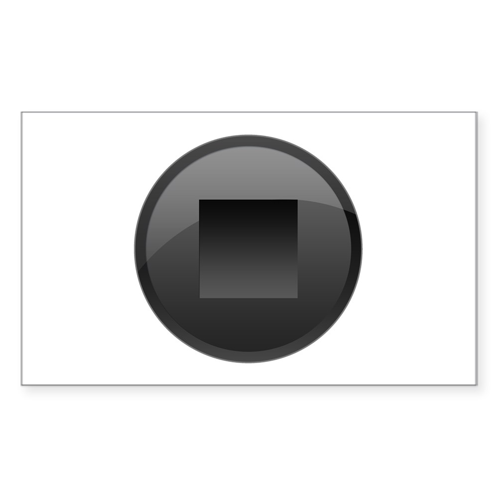 Black Stop Button Rectangle Sticker