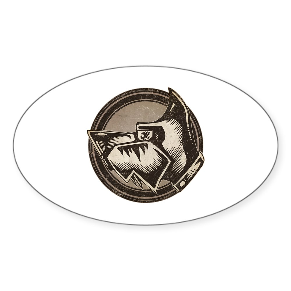 Distressed Wild Dog Stamp Oval Sticker