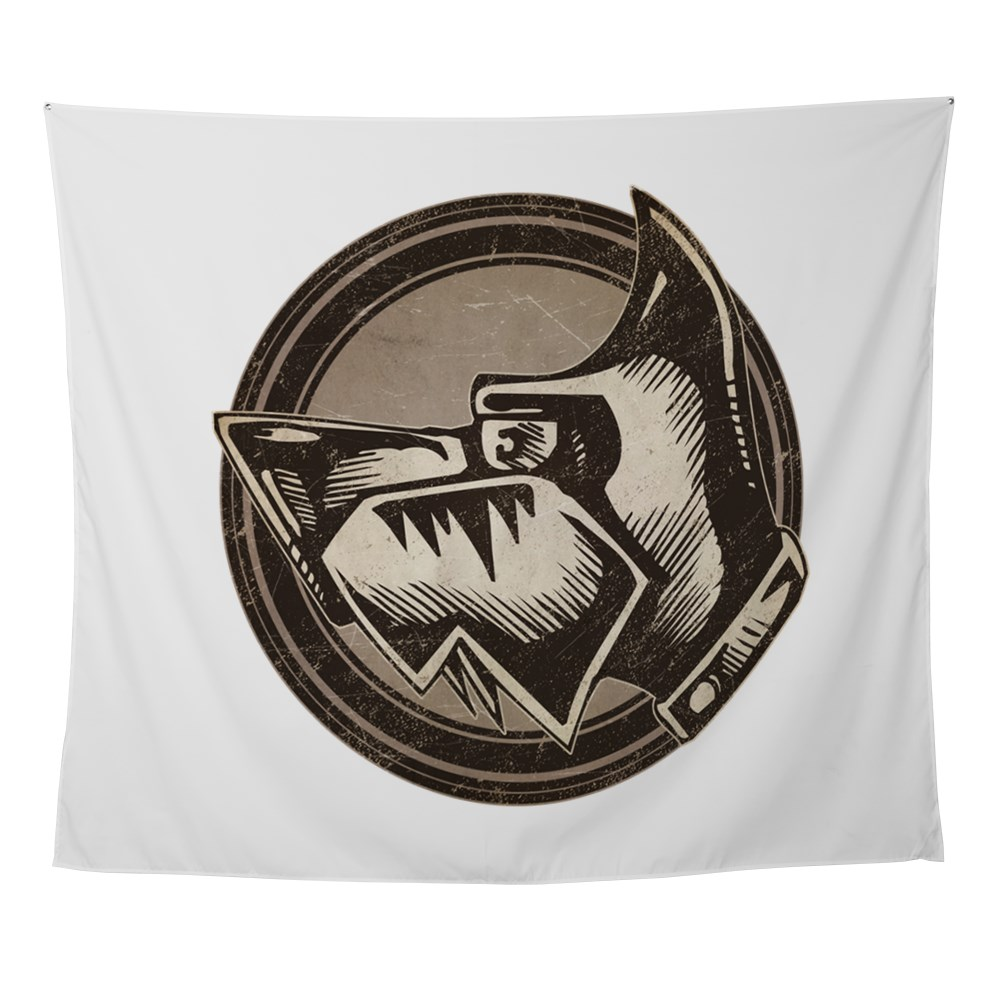Distressed Wild Dog Stamp Wall Tapestry