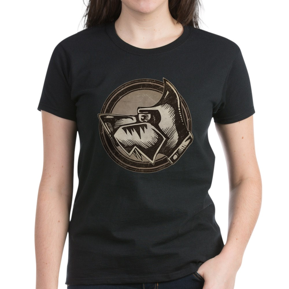 Distressed Wild Dog Stamp Women's Dark T-Shirt