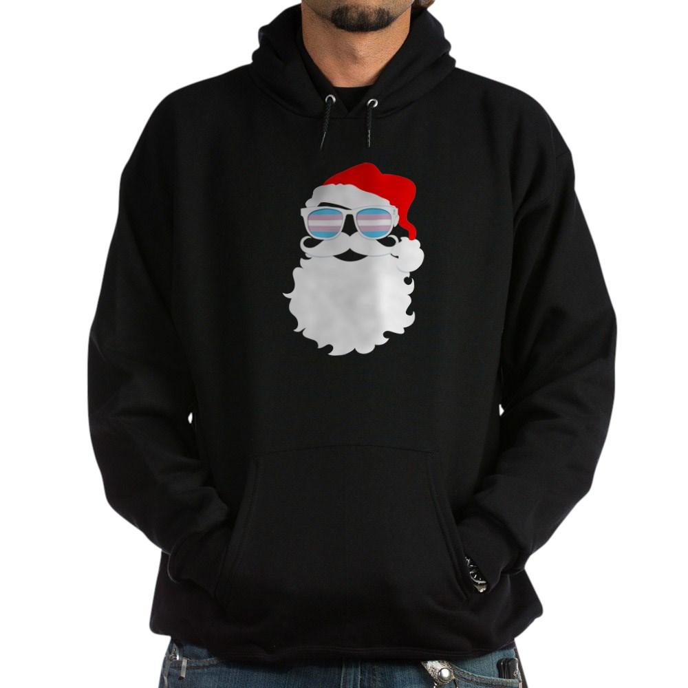 Cool Santa Claus Transgender Pride Flag Sunglasses Dark Hoodie