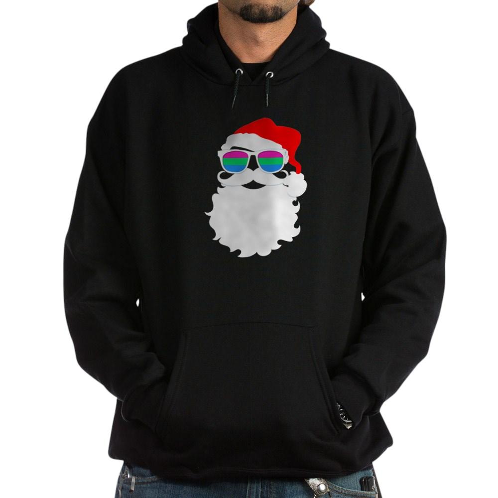 Santa Claus Polysexual Pride Flag Sunglasses Dark Hoodie