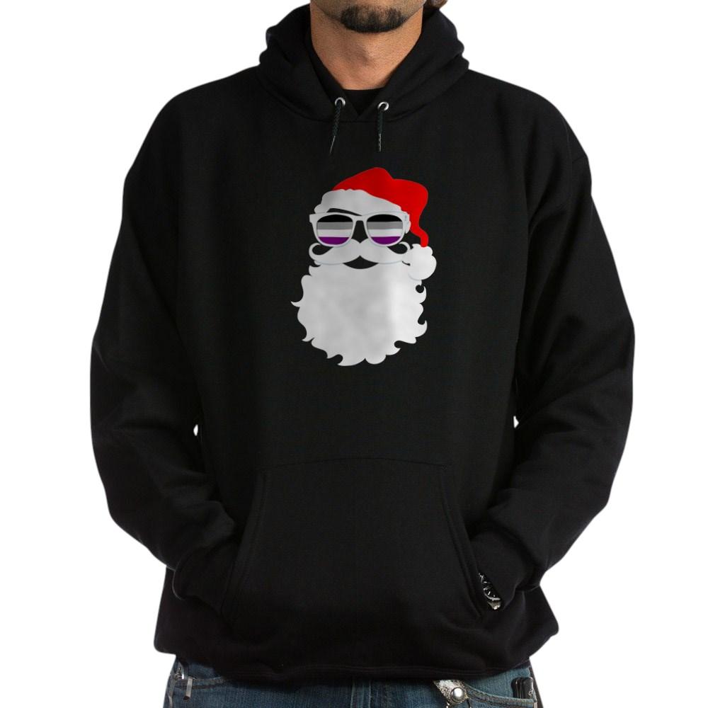 Cool Santa Claus Asexual Pride Flag Sunglasses Dark Hoodie