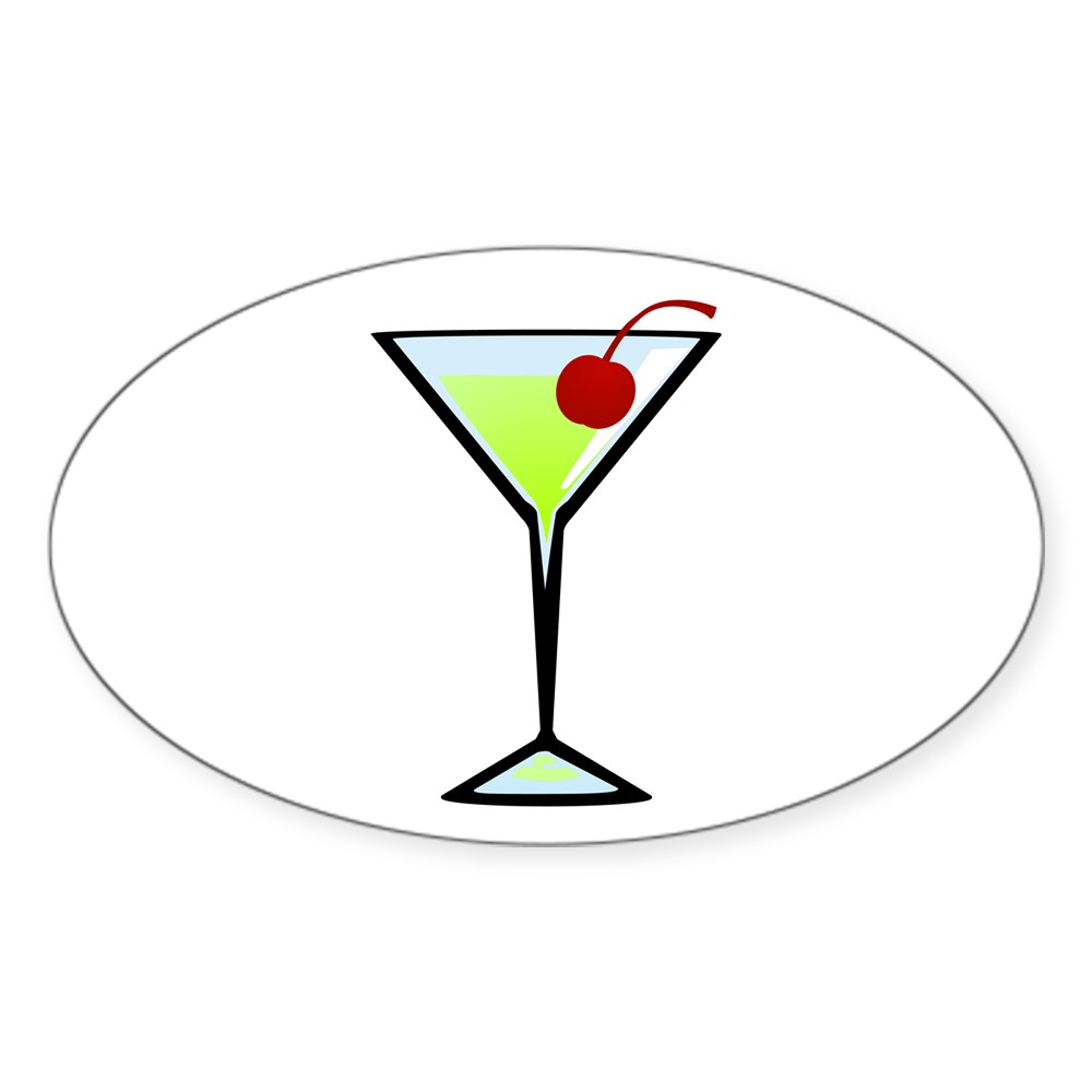 Green Apple Martini Oval Sticker