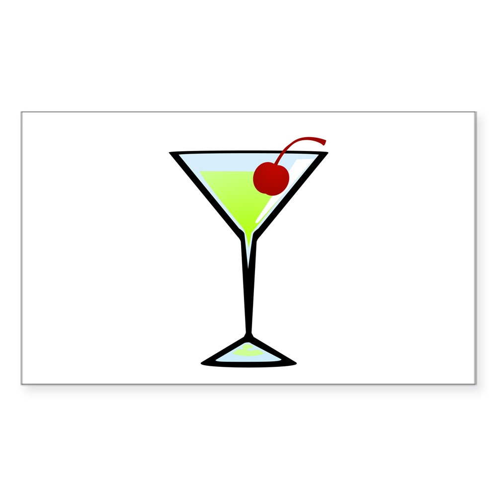 Green Apple Martini Rectangle Sticker