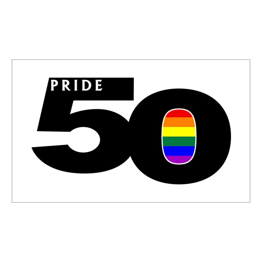 Pride 50 LGBTQ Gay Pride Flag Rectangle Sticker