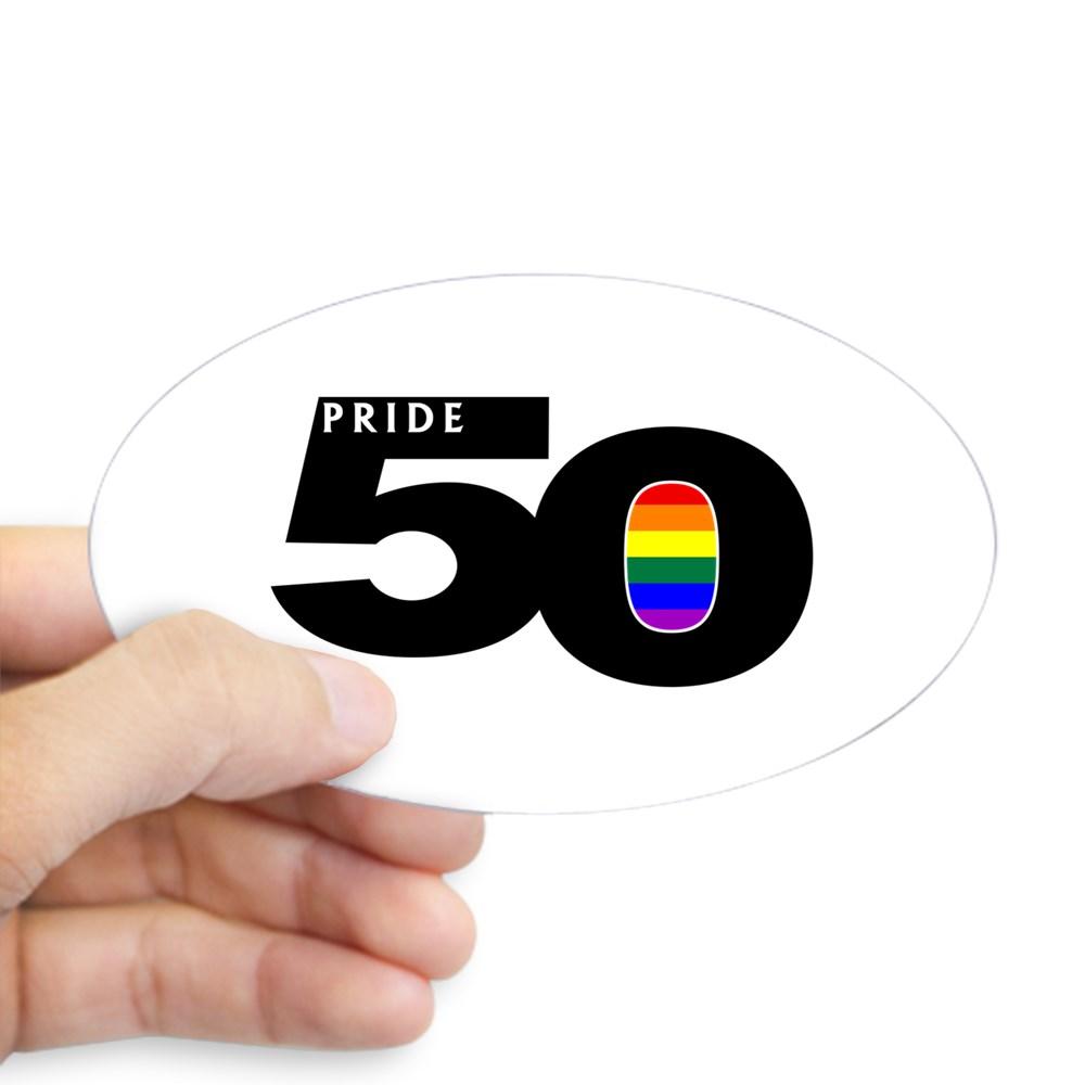Pride 50 LGBTQ Gay Pride Flag Oval Sticker