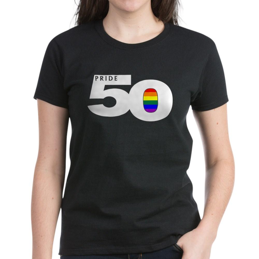 Pride 50 LGBTQ Gay Pride Flag Women's Dark T-Shirt