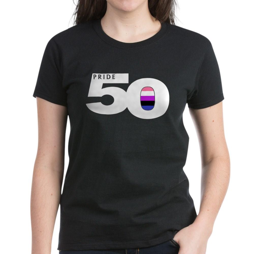 Pride 50 Genderfluid Pride Flag Women's Dark T-Shirt