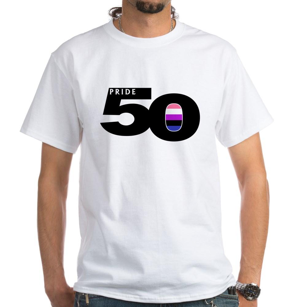 Pride 50 Genderfluid Pride Flag White T-Shirt