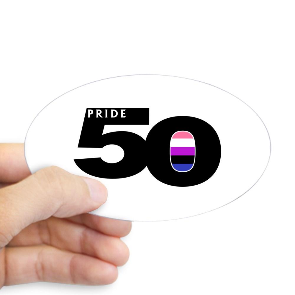 Pride 50 Genderfluid Pride Flag Oval Sticker