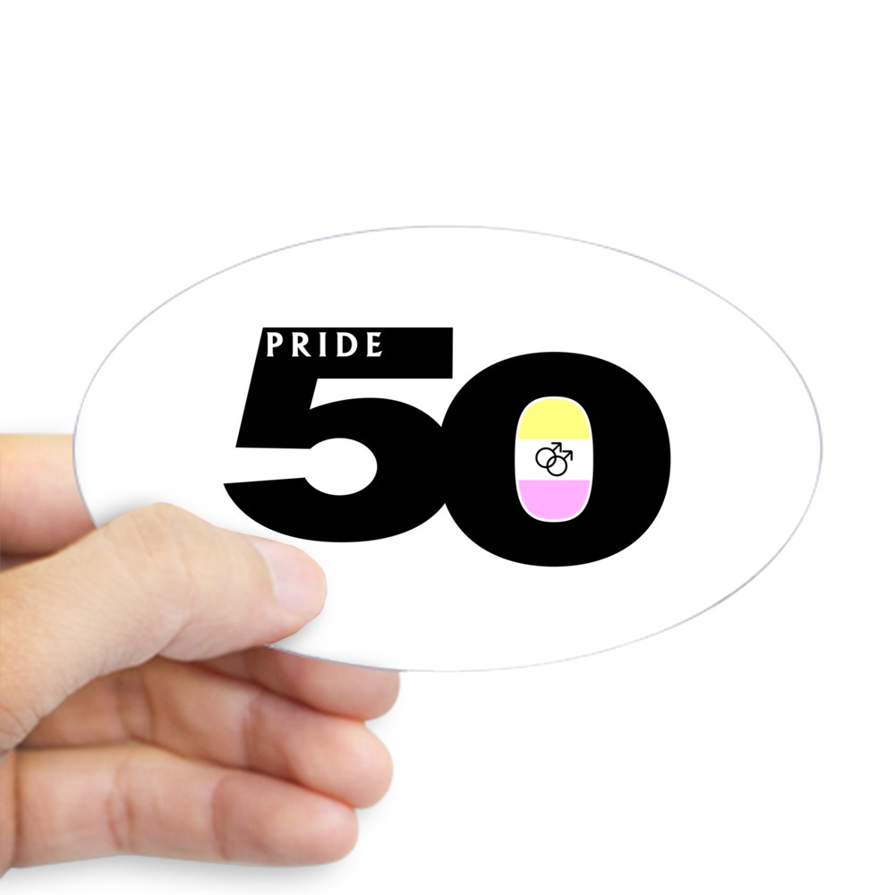 Pride 50 Gay Twink Pride Flag Oval Sticker