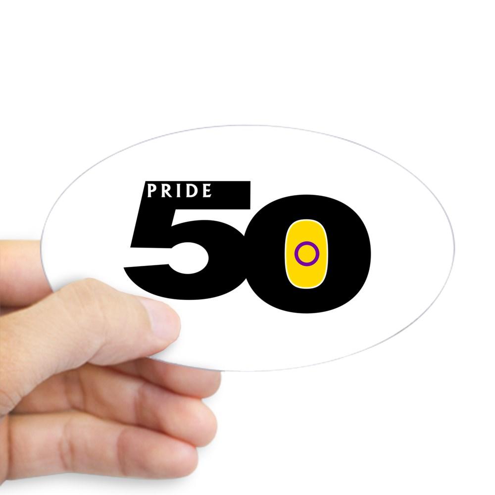 Pride 50 Intersex Pride Flag Oval Sticker