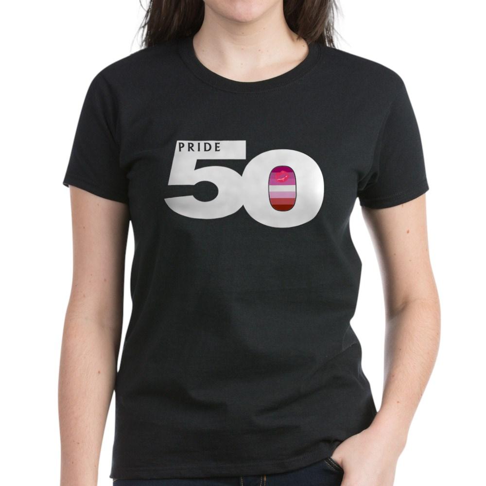 Pride 50 Lipstick Lesbian Pride Flag Women's Dark T-Shirt