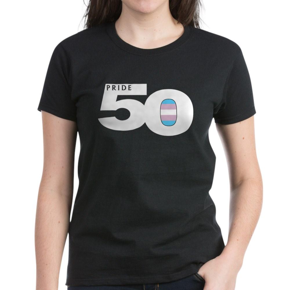 Pride 50 Transgender Pride Flag Women's Dark T-Shirt