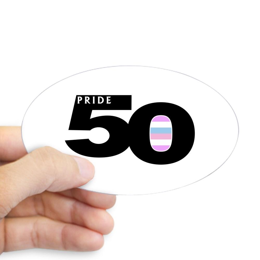 Pride 50 Bigender Pride Flag Oval Sticker