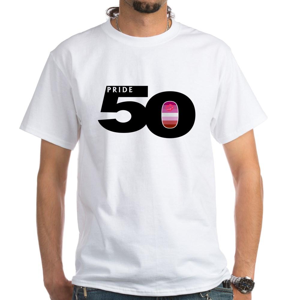 Pride 50 Lipstick Lesbian Pride Flag White T-Shirt