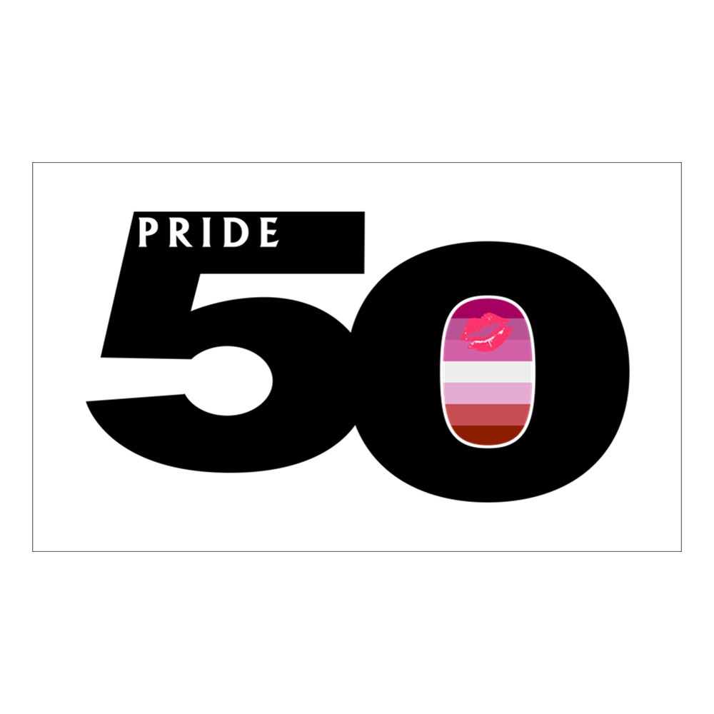 Pride 50 Lipstick Lesbian Pride Flag Rectangle Sticker