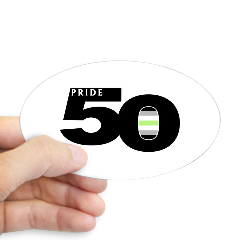Pride 50 Agender Pride Flag Oval Sticker