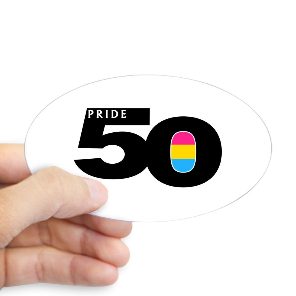 Pride 50 Pansexual Pride Flag Oval Sticker