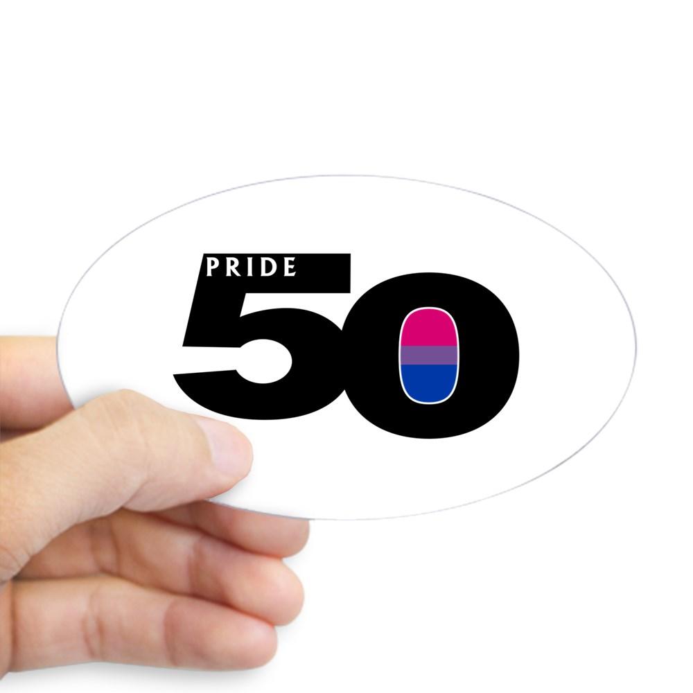 Pride 50 Bisexual Pride Flag Oval Sticker
