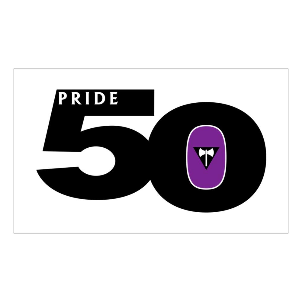 Pride 50 Lesbian Labrys Pride Flag Rectangle Sticker
