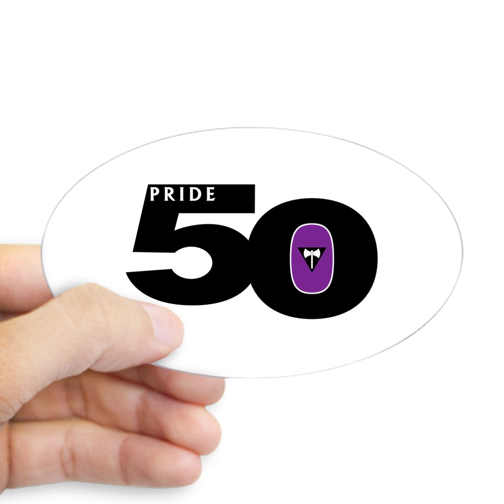 Pride 50 Lesbian Labrys Pride Flag Oval Sticker