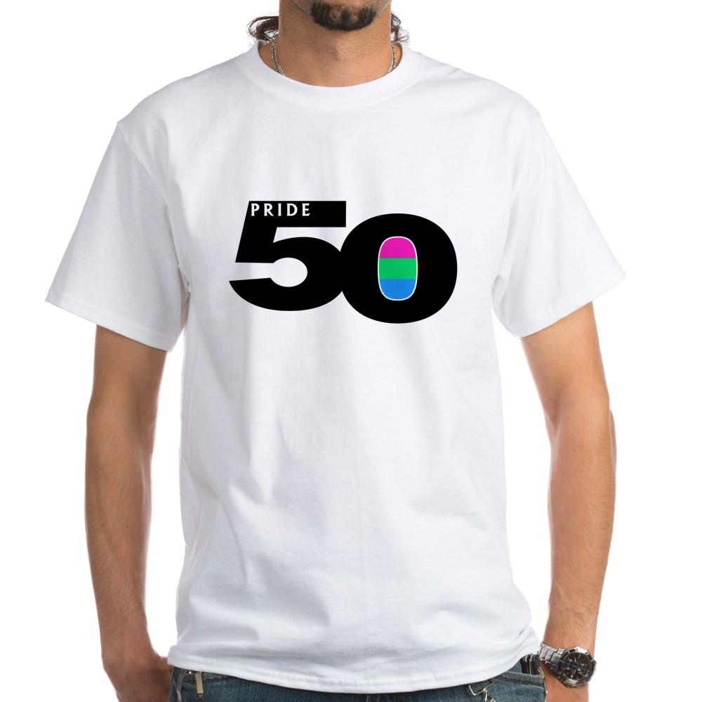 Pride 50 Polysexual Pride Flag White T-Shirt
