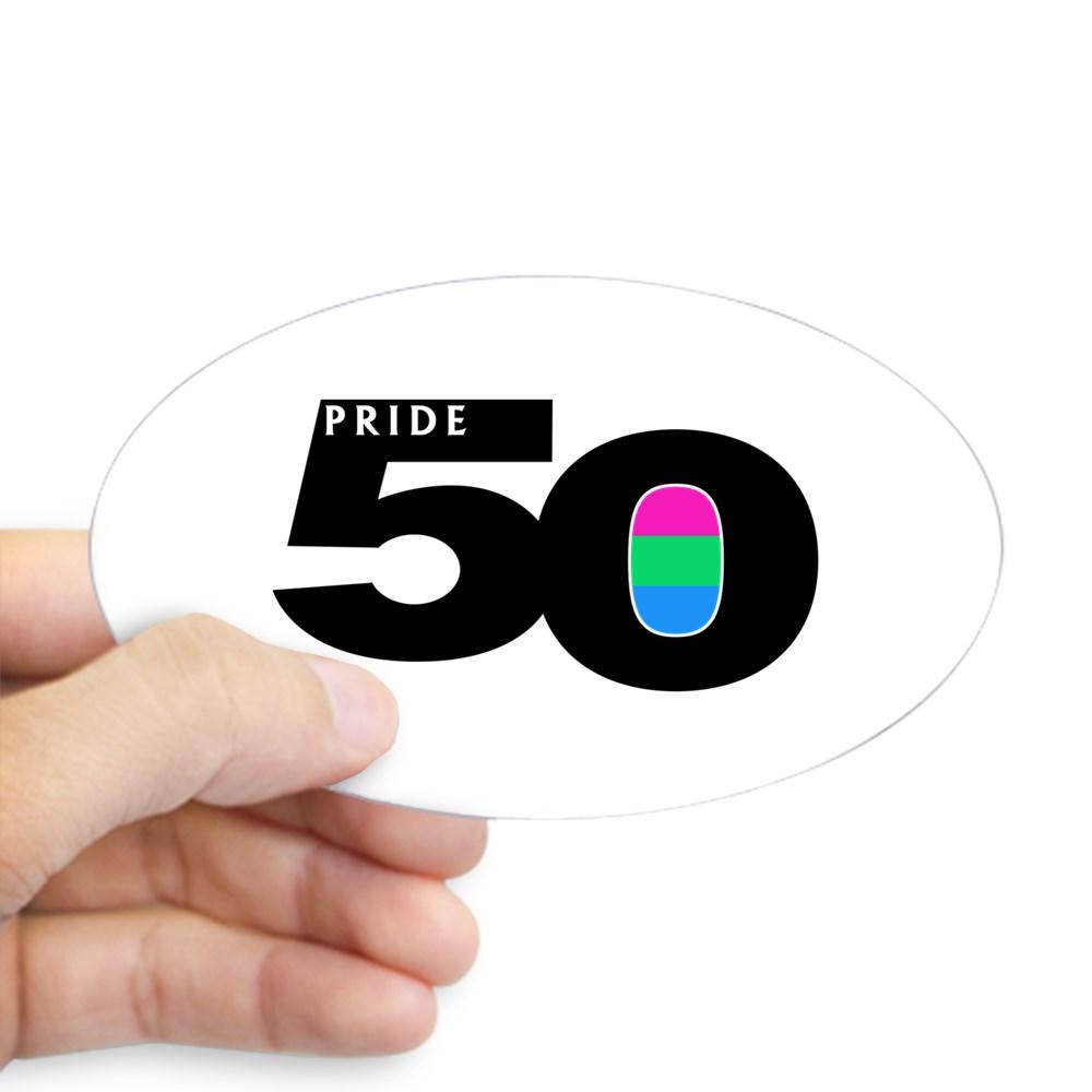 Pride 50 Polysexual Pride Flag Oval Sticker