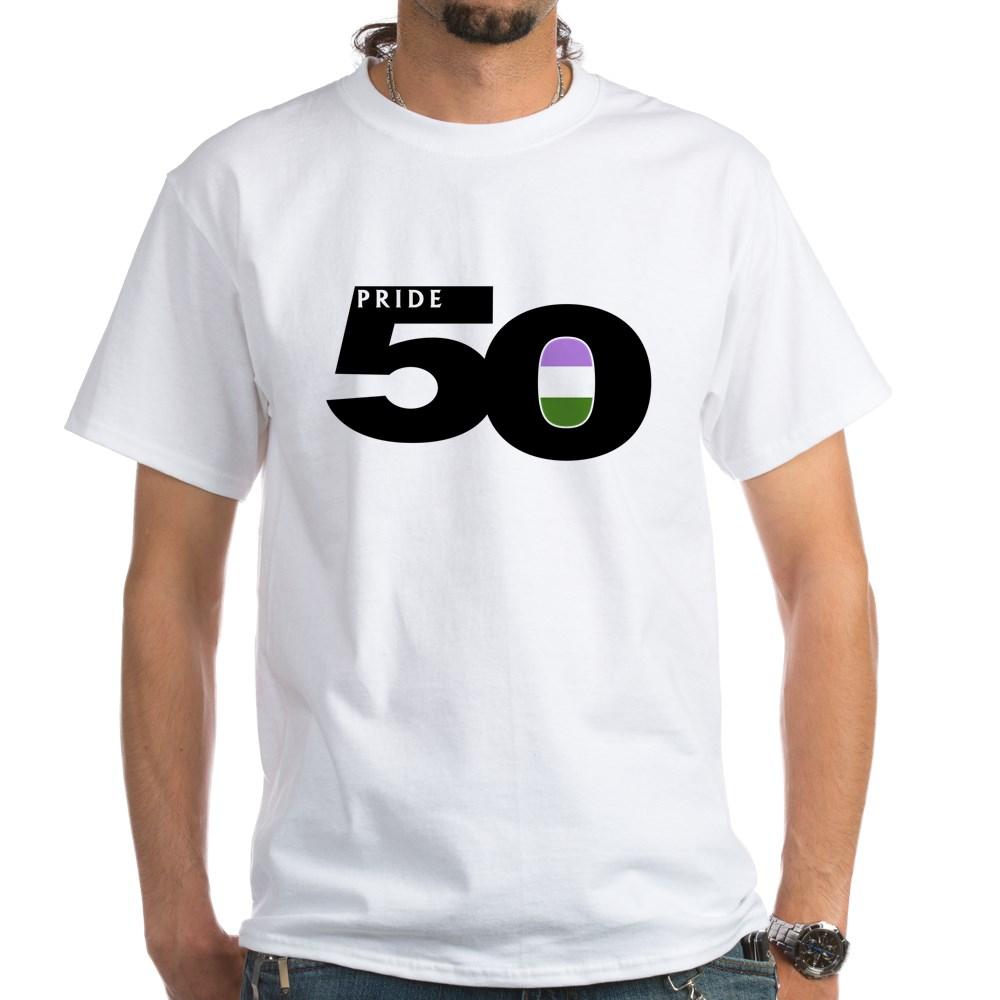 Pride 50 Genderqueer Pride Flag White T-Shirt