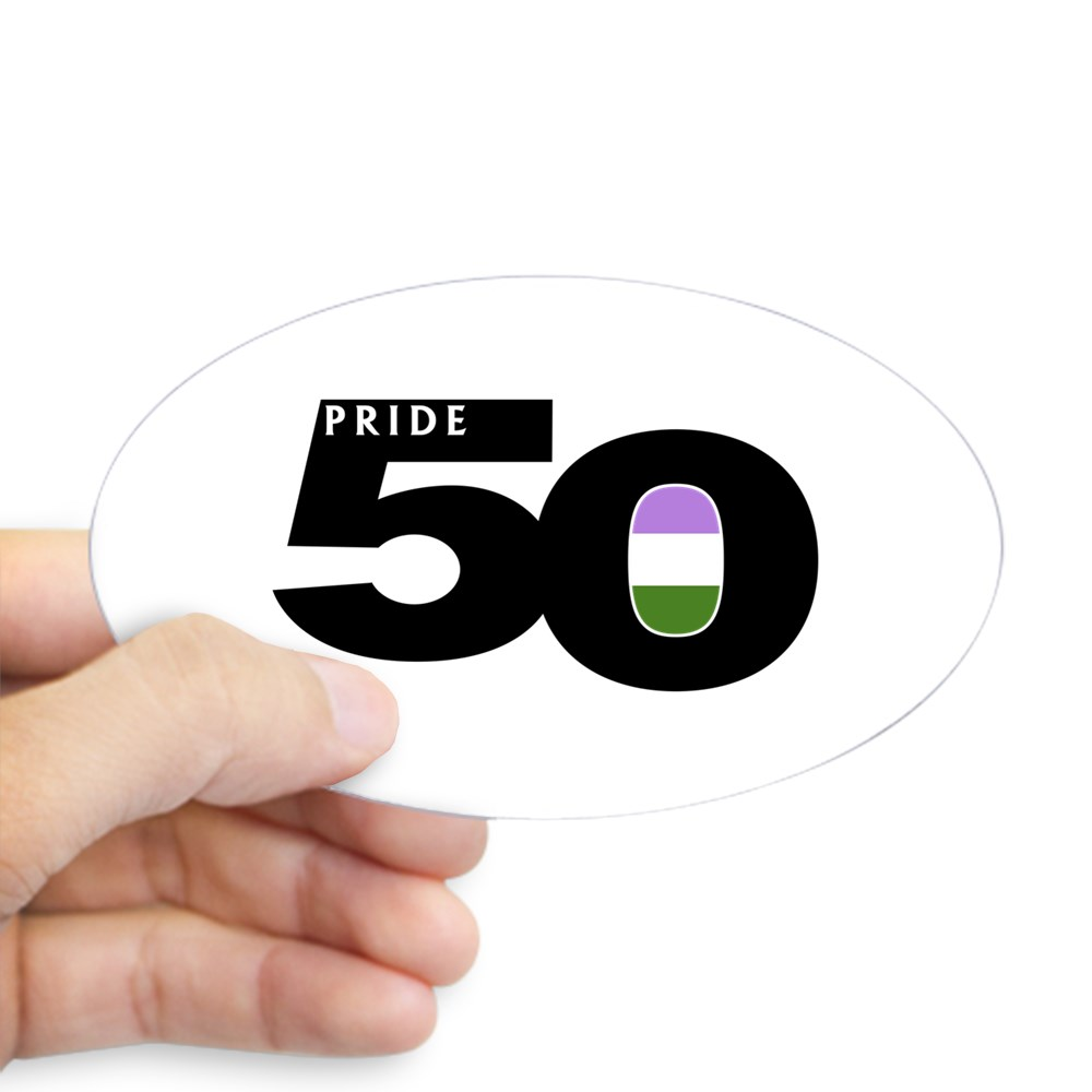Pride 50 Genderqueer Pride Flag Oval Sticker