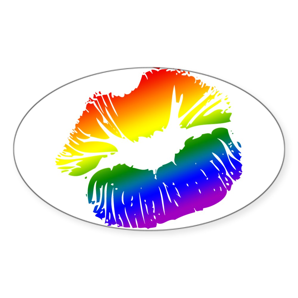 LGBT Love Rainbow Pride Kissing Lips Oval Sticker